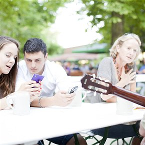 Practice after online lessons: Here in the beer garden